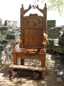 Sculpture of Lord Rhys' throne. Situated in Castle courtyard